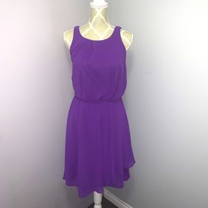 RW&Co. Purple Cinched Waist Dress